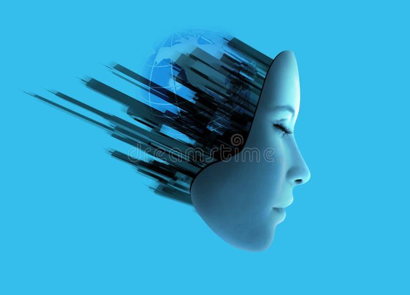 Cara de Womans con tecnología abstracta. ilustración del vector