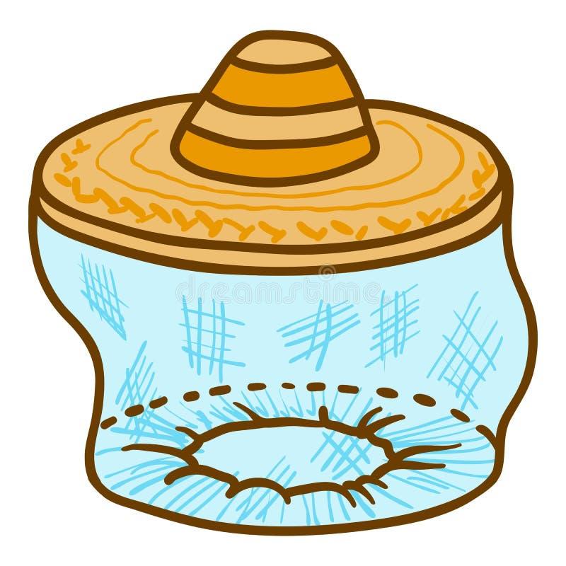 Cara del apicultor proteger el icono del sombrero, estilo exhausto de la mano stock de ilustración