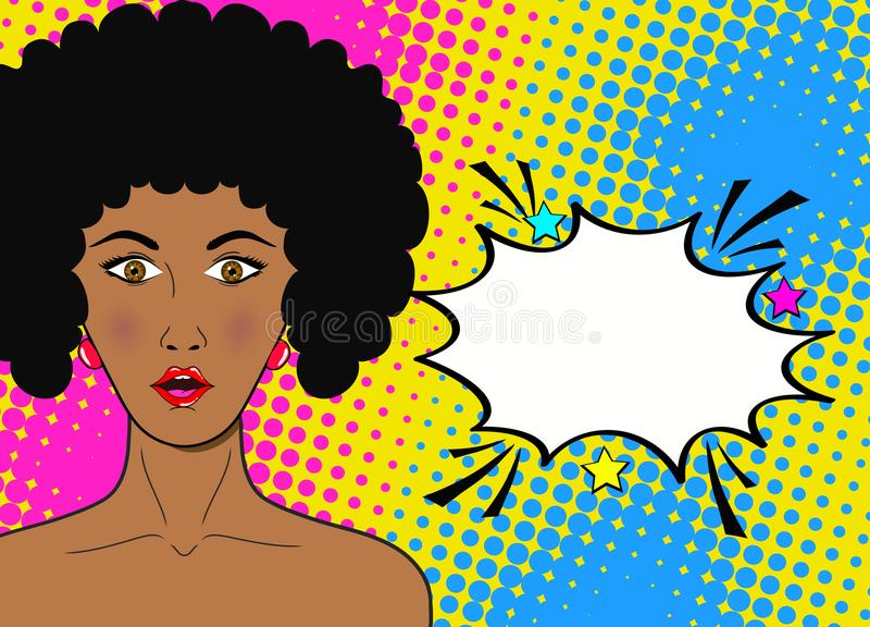Cara del arte pop del wow Mujer africana sorprendida atractiva con la boca abierta a libre illustration