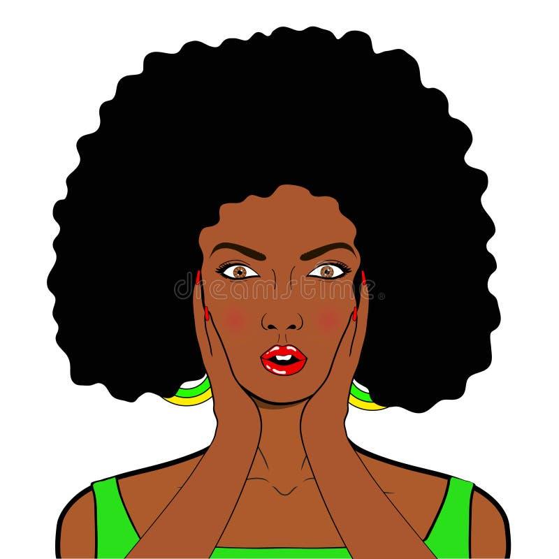 Cara del arte pop del wow Mujer africana sorprendida atractiva con la boca abierta i libre illustration
