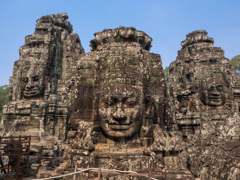 Cara del Bodhisattva Loki State Ice King en el templo de Bayon, fotografía de archivo