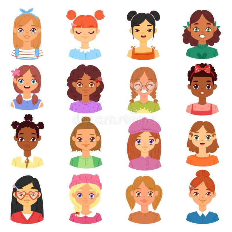 Cara del carácter femenino del vector del retrato de la mujer de la muchacha con la persona del peinado y de la historieta con di stock de ilustración