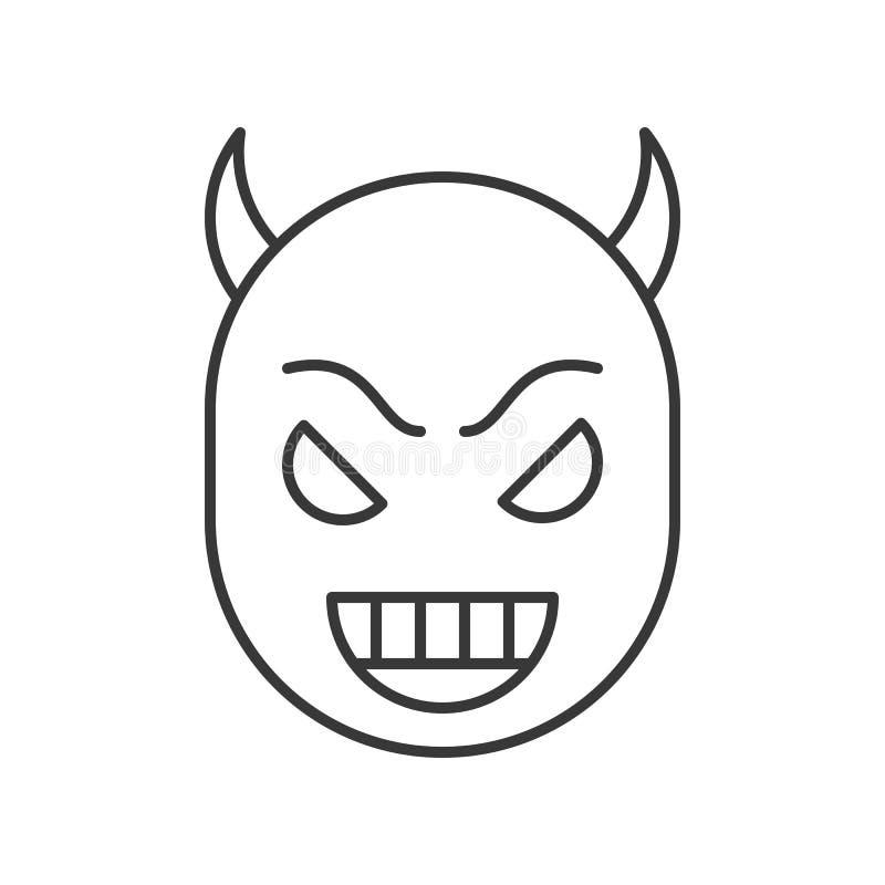 Cara del diablo de la sonrisa, movimiento editable del carácter de Halloween stock de ilustración