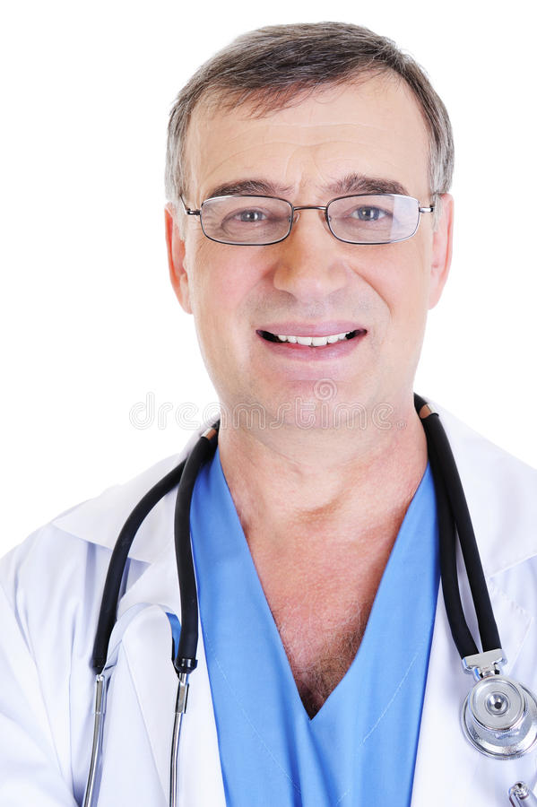 Cara del doctor de sexo masculino acertado fotografía de archivo libre de regalías