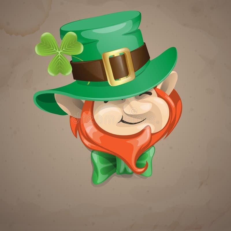 Cara del duende del día de St Patrick. ilustración del vector