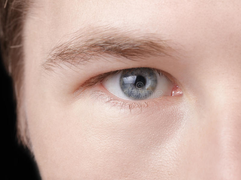 Cara del hombre adulto joven con los ojos azules foto de archivo