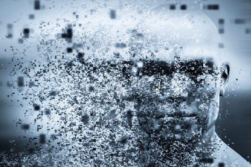 Cara del hombre con efecto de la dispersión del pixel Concepto de tecnología, ciencia moderna pero también desintegración ilustración del vector