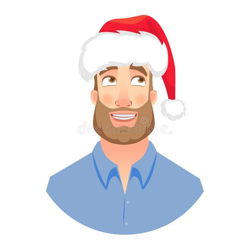 Cara del hombre con la barba stock de ilustración