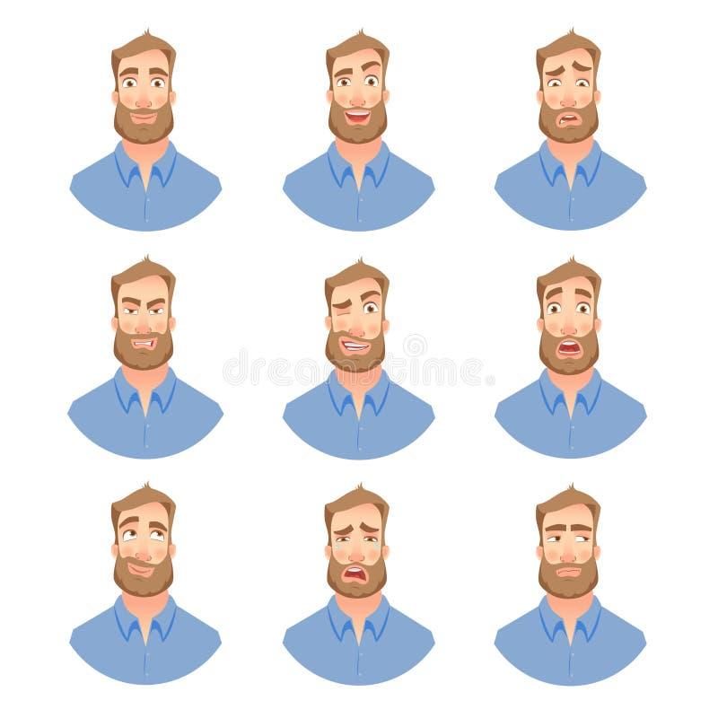 Cara del hombre con la barba - sistema ilustración del vector