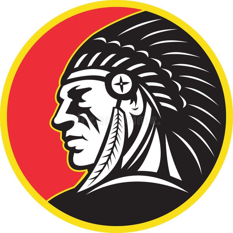Cara del jefe indio del nativo americano stock de ilustración