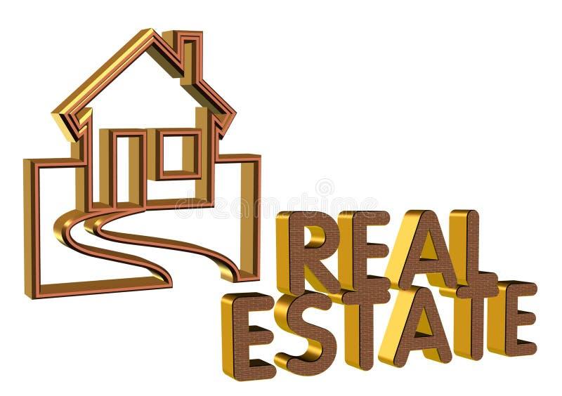 Cara del ladrillo de la insignia 3D de las propiedades inmobiliarias stock de ilustración