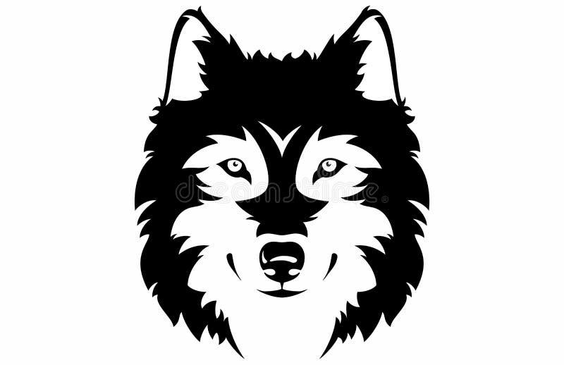 Cara del lobo stock de ilustración