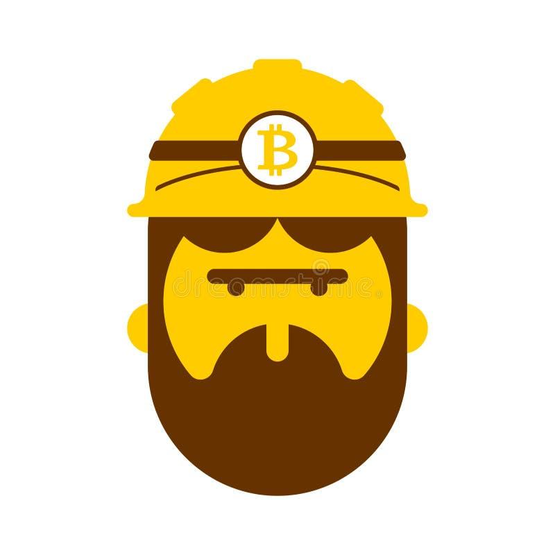Cara del minero Monedas Crypto de Bitcoin de la explotación minera Illu del vector del trabajador stock de ilustración