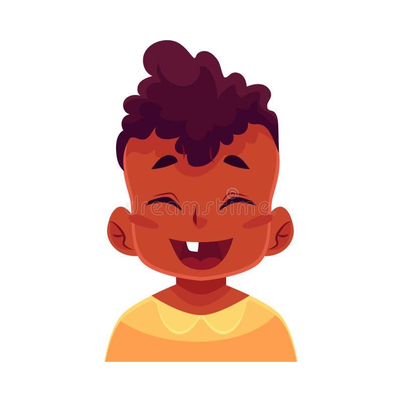Cara del niño pequeño, expresión facial de risa libre illustration