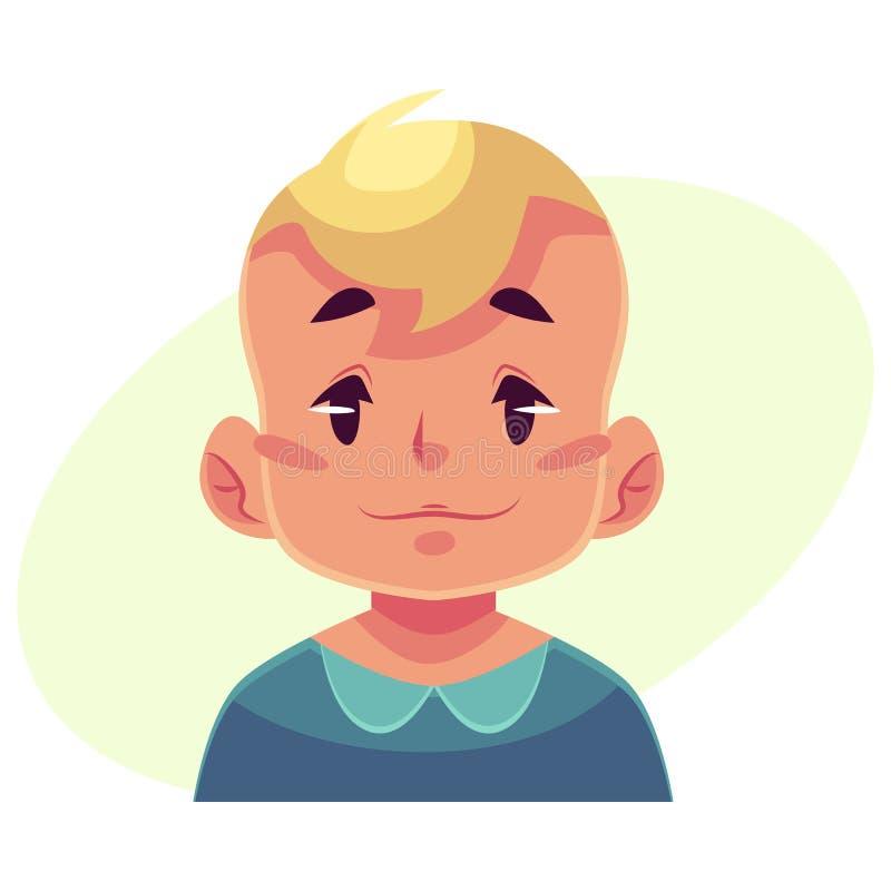 Cara del niño pequeño, expresión facial neutral libre illustration