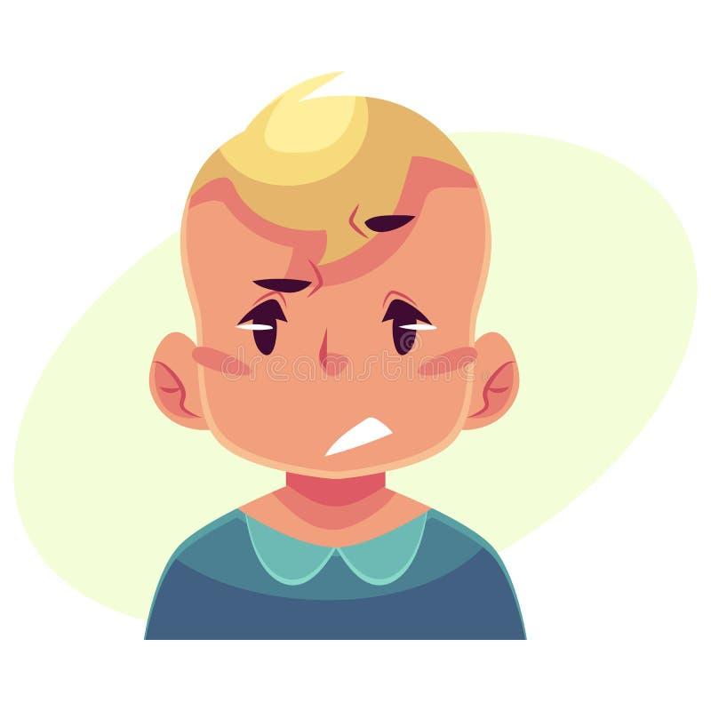 Cara del niño pequeño, trastorno, expresión facial confusa stock de ilustración