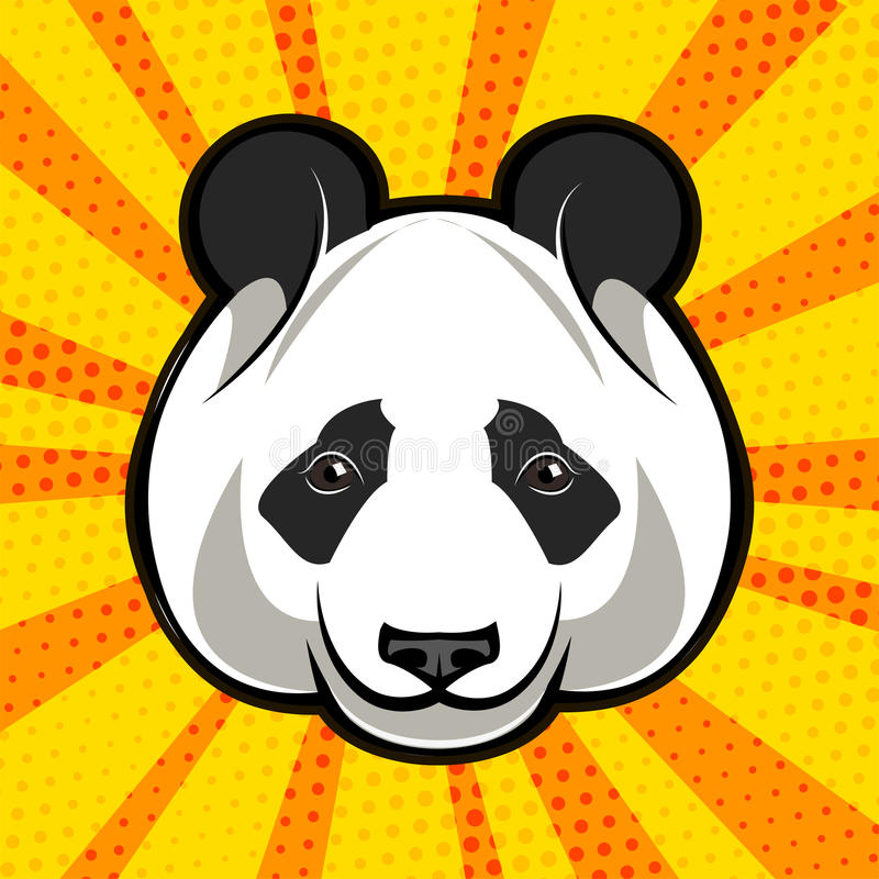 Cara del oso de panda estilo del arte pop Ilustración del vector libre illustration