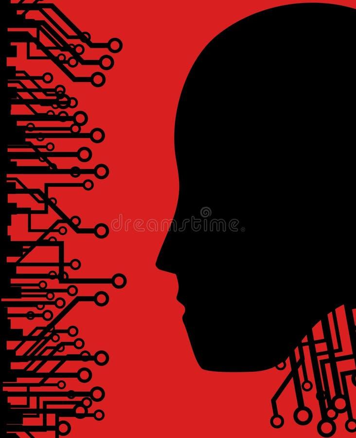Cara del papel pintado de la tecnología stock de ilustración