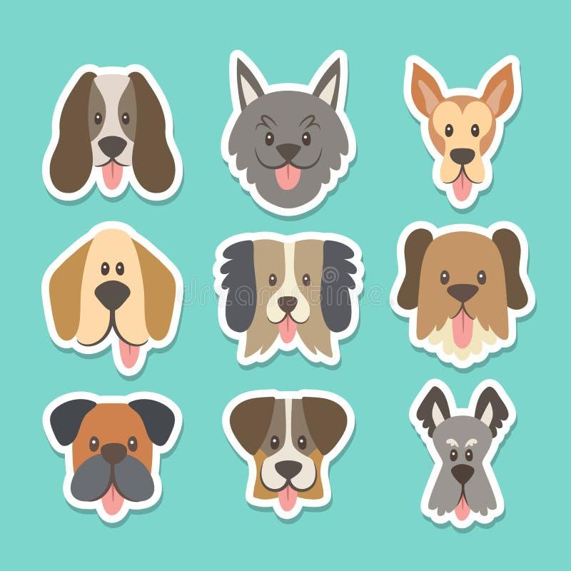 Cara del perro con la lengua fuera de la colección de la etiqueta engomada libre illustration
