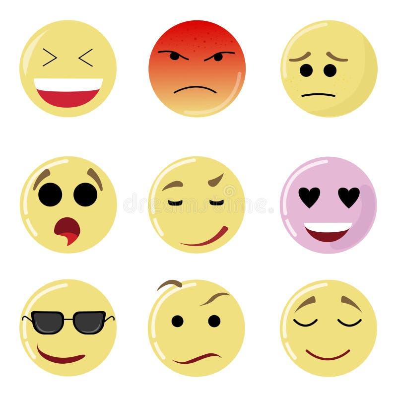 Cara del sistema de la sonrisa, emoción amarilla feliz, expresión del emoticon stock de ilustración