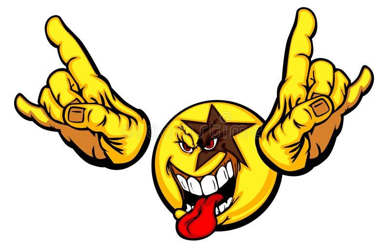 Cara del smiley de la estrella del rock stock de ilustración