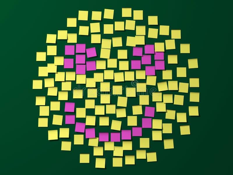 Cara del smiley de la nota de post-it ilustración del vector