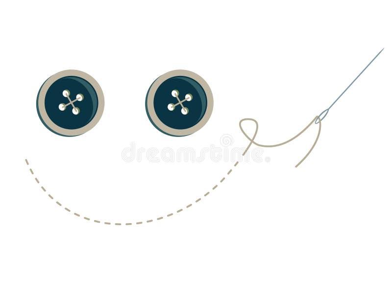 Cara del smiley del botón stock de ilustración