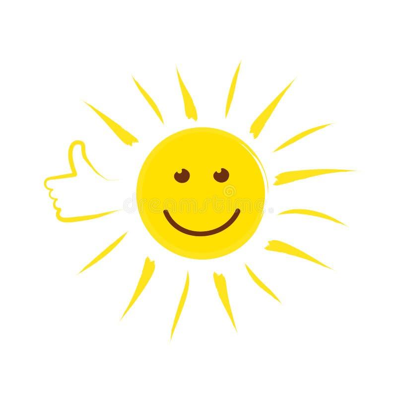 Cara del sol del verano con el pulgar para arriba y la sonrisa feliz ilustración del vector