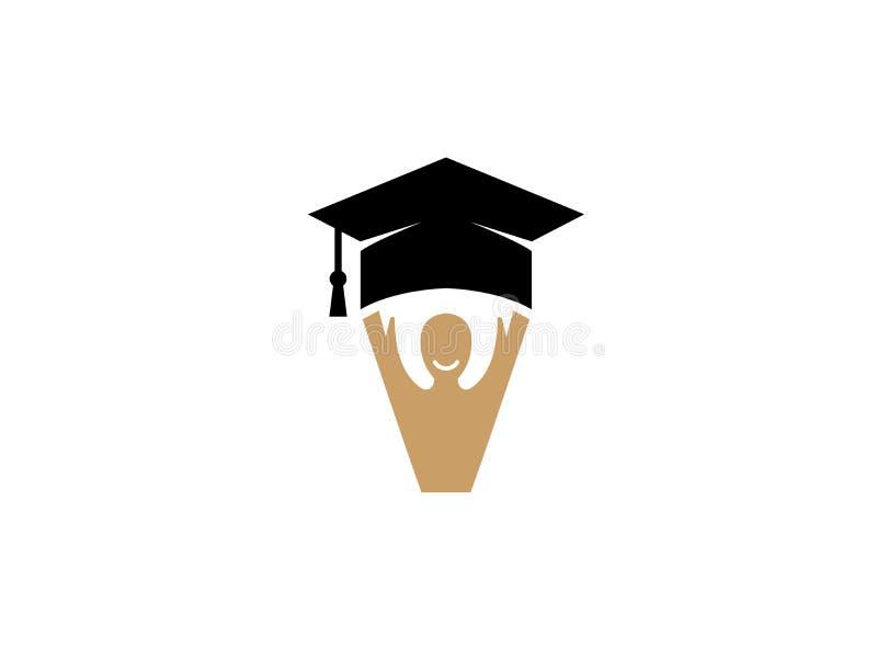 Cara del sombrero y de la sonrisa de la graduación con las manos encima del logotipo stock de ilustración