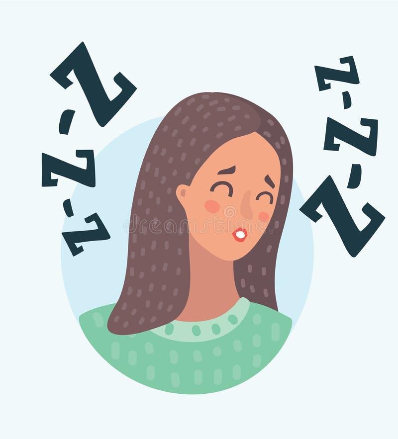 Cara del sueño de la mujer libre illustration