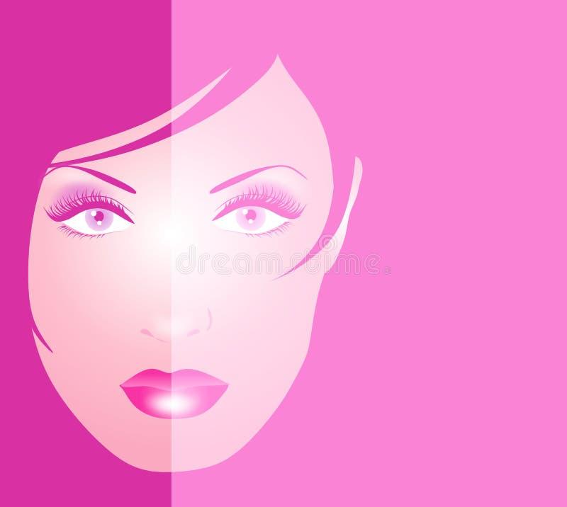 Cara del tono del color de rosa 2 del fondo de la mujer ilustración del vector