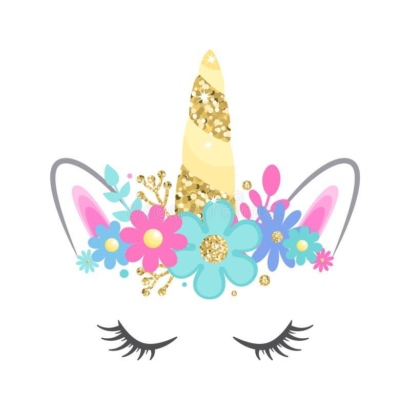 Cara del unicornio del vector con los ojos y las flores cerrados Cuerno del brillo del oro stock de ilustración