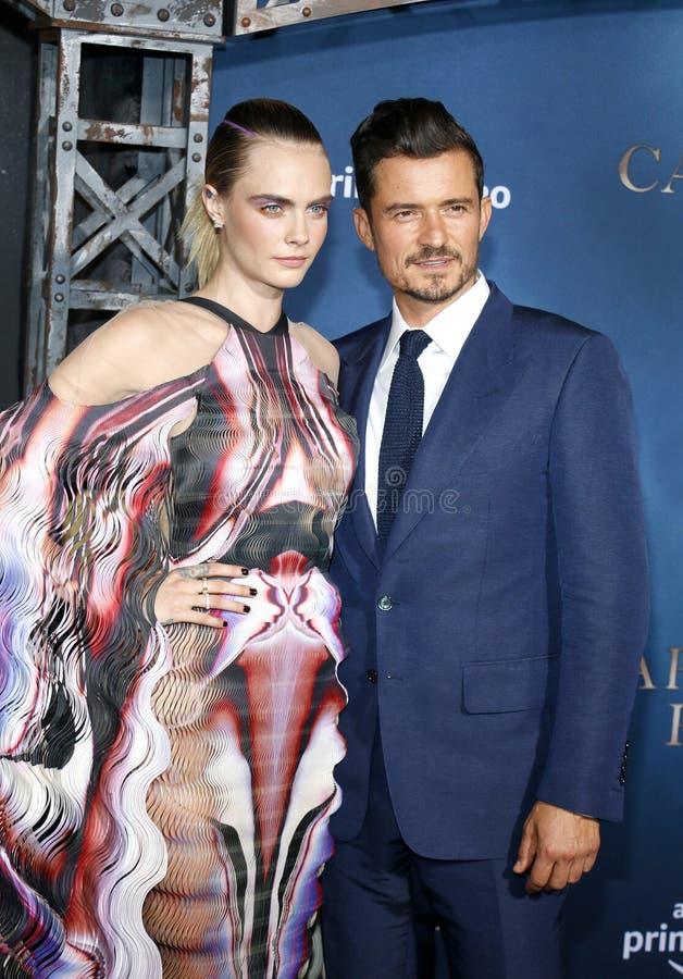 Cara Delevingne and Orlando Bloom stock photo