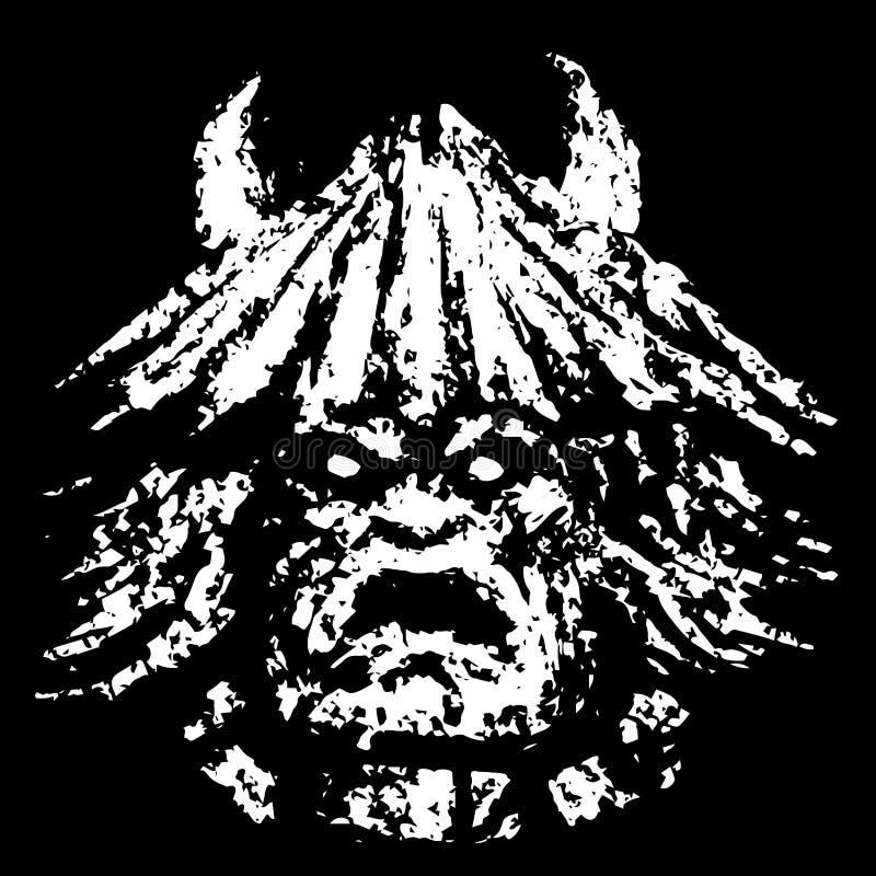Cara desagradável do demônio Gênero do horror Ilustração do vetor ilustração stock