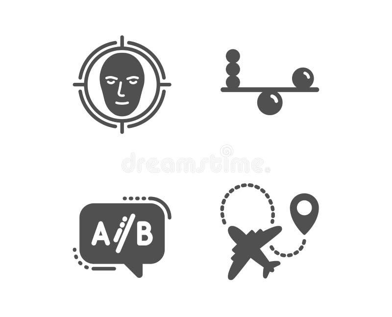 A cara detecta, ícone de teste do equilíbrio e do Ab Sinal do avião Alvo seleto, concentração, bate-papo do teste plano Vetor ilustração do vetor