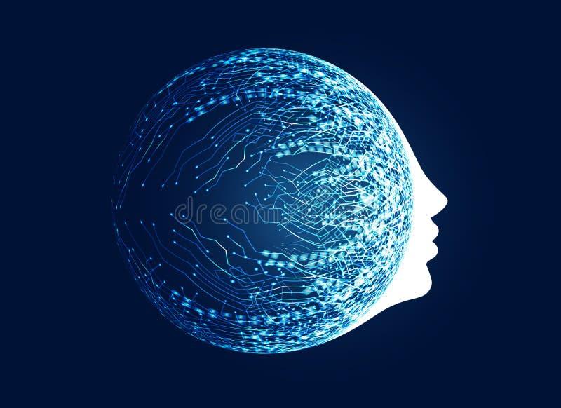 cara digital com conceito da rede do circuito para a aprendizagem de máquina a ilustração do vetor