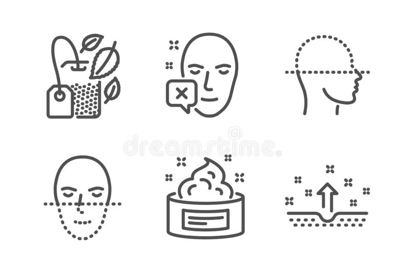 A cara diminuiu, exploração da cara e de saco da hortelã grupo dos ícones Creme de pele, sinais limpos da pele Vetor ilustração do vetor