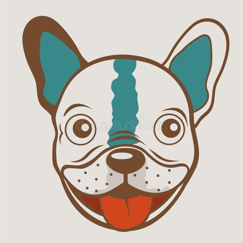 Cara divertida del dogo francés stock de ilustración