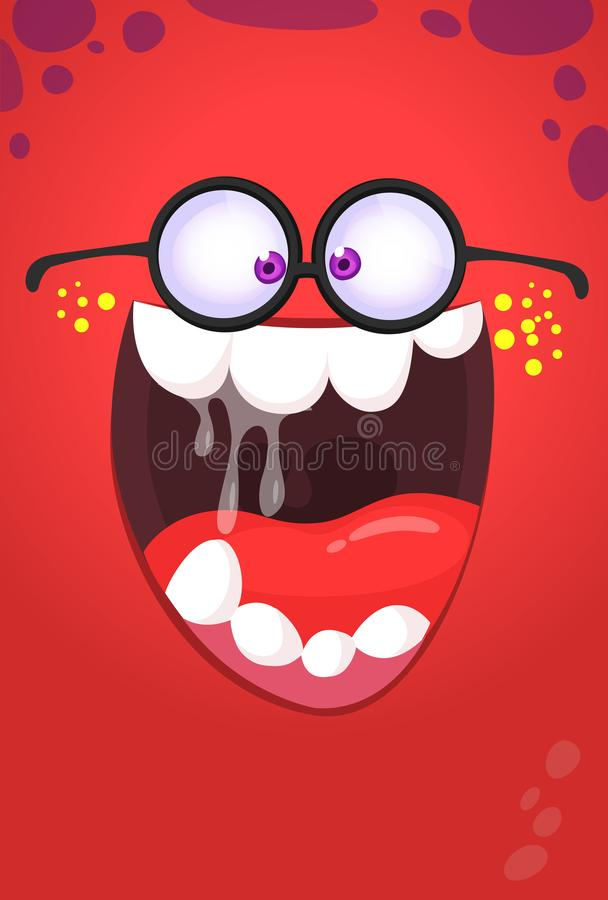 Cara divertida del monstruo de la historieta con las lentes Avatar del cuadrado del monstruo de Halloween del vector ilustración del vector
