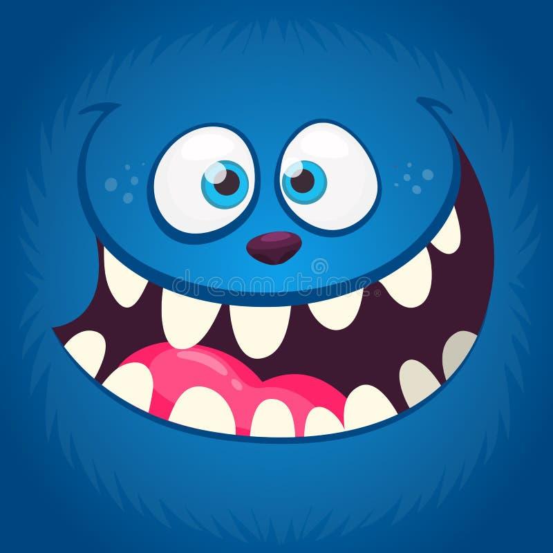 Cara divertida enojada del monstruo de la historieta con una boca grande Ejemplo azul del monstruo del vector libre illustration