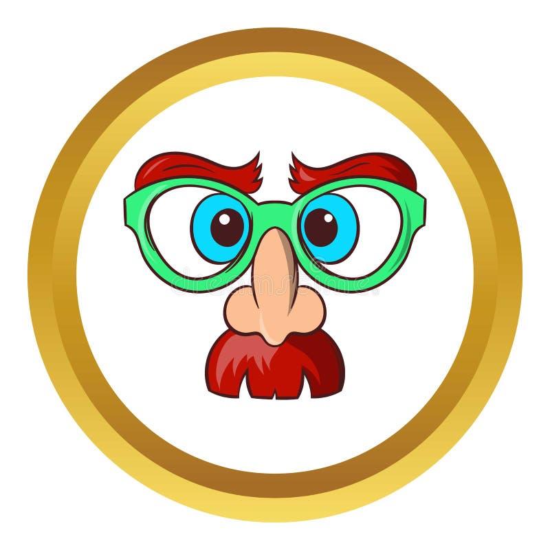 Cara do ícone do mágico, estilo dos desenhos animados ilustração do vetor