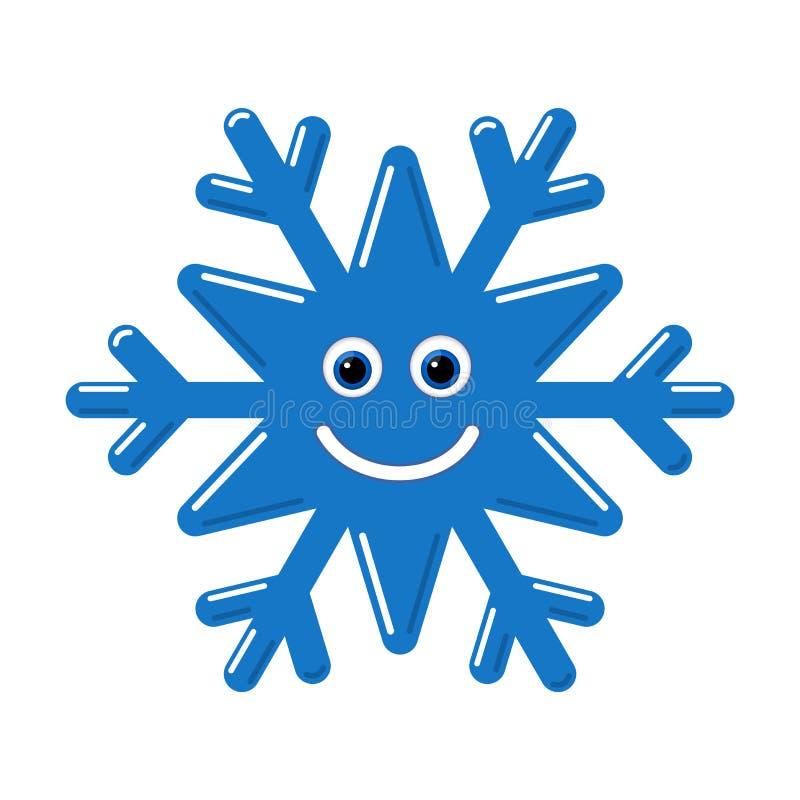 Cara do bebê do smiley do floco de neve Floco azul da neve do inverno bonito, sorriso, fundo branco isolado Caráter feliz do dive ilustração royalty free