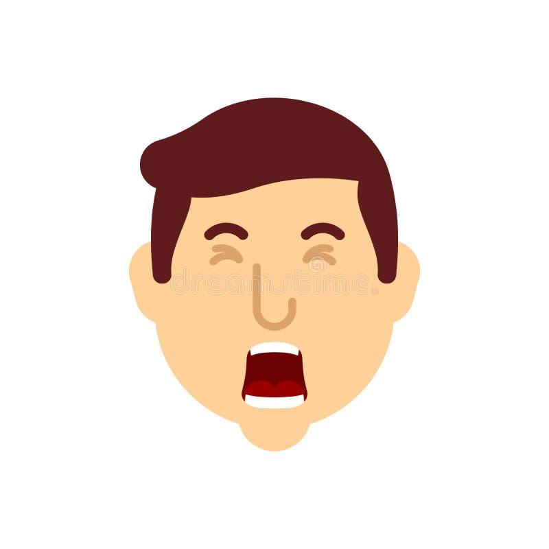 A cara do bocejo do homem isolou-se O indivíduo está bocejando Ilustra??o do vetor ilustração stock