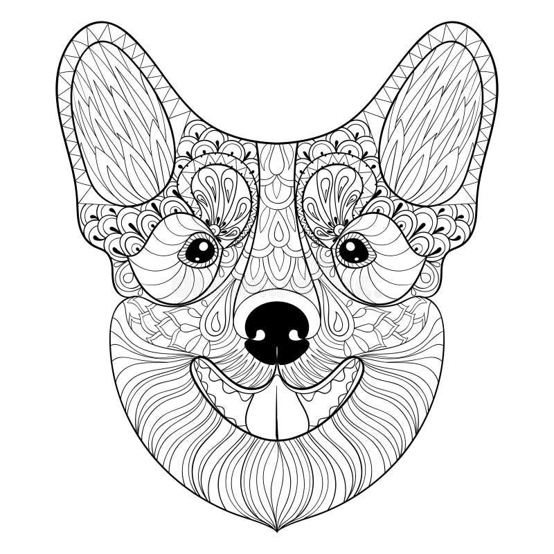 Cara do cão de Zentangle no estilo monocromático da garatuja Cachorrinho tirado mão, ilustração royalty free