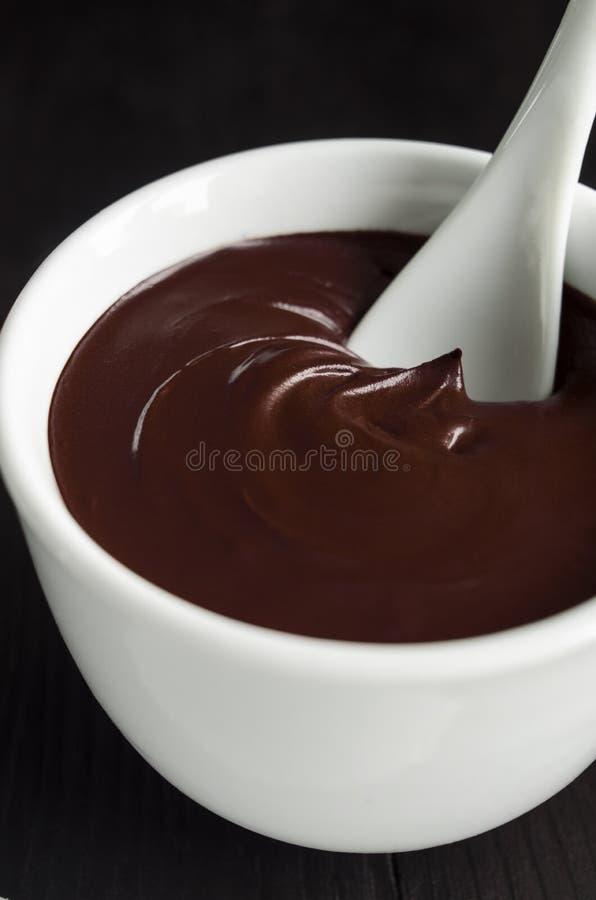 Cara do cacau (chocolate escuro) e máscara do corpo em uma bacia imagem de stock