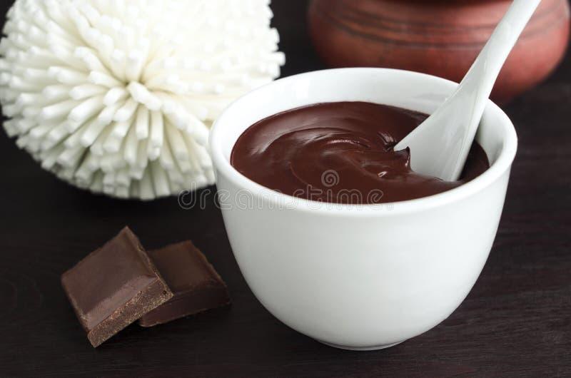 Cara do cacau (chocolate escuro) e máscara do corpo em uma bacia imagem de stock royalty free