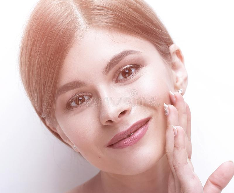 Cara do close up de uma jovem mulher bonita imagens de stock royalty free