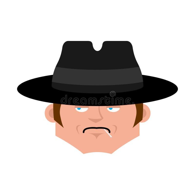 Cara do espião no chapéu isolado Avatar do detetive Vetor ilustração royalty free