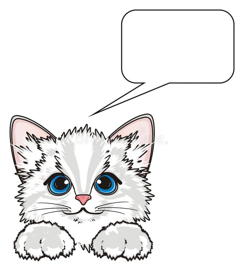 Cara do gatinho com sinal ilustração stock