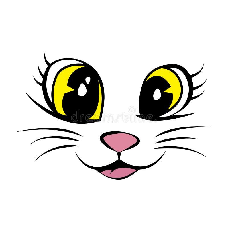 Cara do gato com os olhos, o nariz e a boca amarelos bonitos ilustração stock